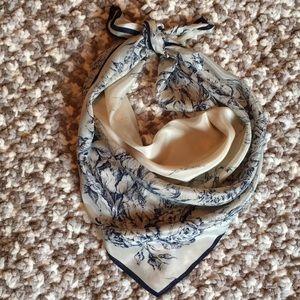 Vintage silky scarf blue floral on cream